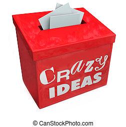boîte, rigolote, fou, irrégulier, imposible, impr, idées, soumettre, suggestion