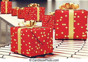 boîte, roller., cadeau, convoyeur, rendre, noël, 3d