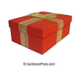 boîte, rouges, cadeau, isolé