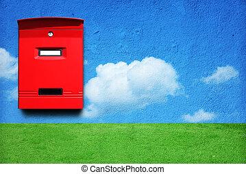 boîte, rouges, courrier