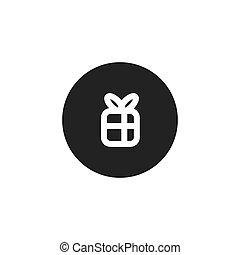 boîte, ruban blanc, cadeau, icône