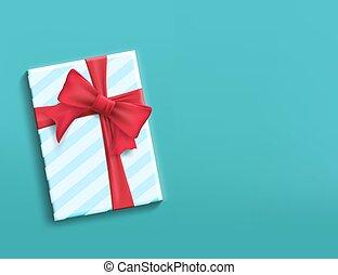 boîte, ruban, bow., cadeau, rouges