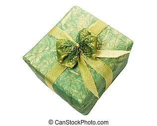boîte, ruban or, cadeau