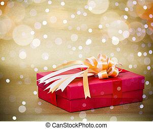 boîte, ruban, or, cadeau, rouges