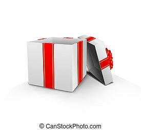 boîte, ruban, ouvert, cadeau, rouges