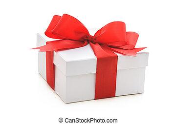 boîte, ruban, rouges, arc don