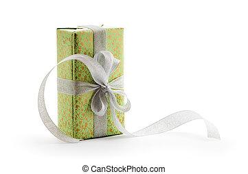 boîte, ruban, vert, argent, cadeau