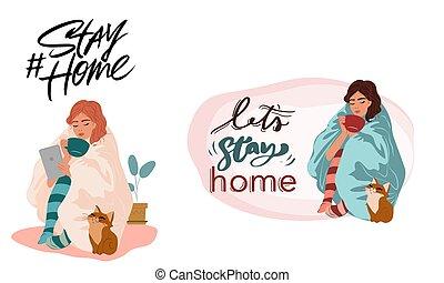 boîte, séjour, style de vie, home., (covid, conception, 19), healthy., vecteur, couronne, campagne, plat, virus, activité, maison, vous