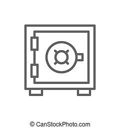 boîte, sûr, coffre-fort, argent, ligne, dépôt, icon., sécurité, banque