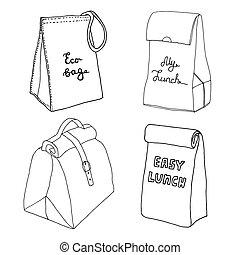 boîte, sacs, croquis, déjeuner, nourriture, collection., set., boxes., sac main, vecteur, divers, facile, dessiné, concepts.
