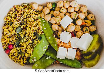 boîte, salade, bureau, sain, légumes, déjeuner, mized