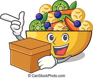 boîte, salade, sain, bol, fruit, frais, dessin animé
