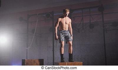 boîte, sans chemise, sain, sauts, gym., athlète
