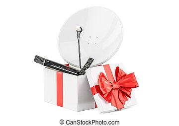 boîte, satellite, cadeau, rendre numérique, récepteur, plat, 3d