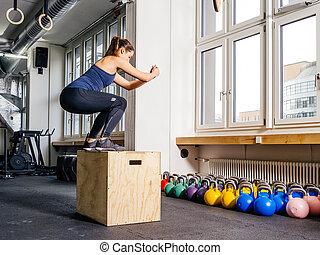 boîte, saut, gymnase