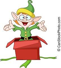boîte, sauts, elfe, cadeau