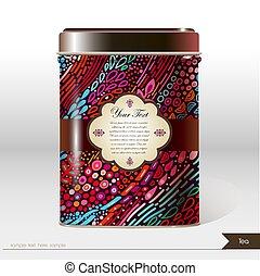 boîte, sec, produit, vecteur, package., café, text., -, products., endroit, thé, conception, ton