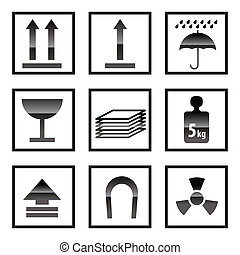 boîte, signes, expédition, icônes