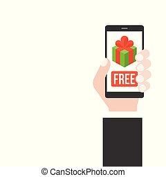 boîte, smartphone, écran, gratuite, possession main