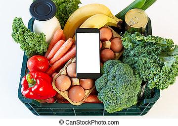 boîte, smartphone, service, nourriture, -, livraison, épicerie