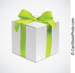 boîte, soie, vert, ruban, cadeau