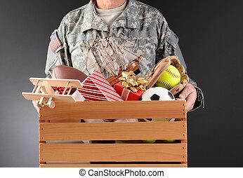 boîte, soldat, jouet, conduire, tenue