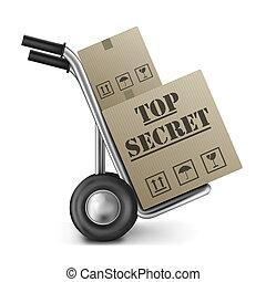 boîte, sommet, main, top secret, camion, carton