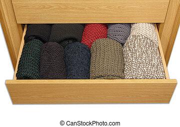 boîte, sommet, well-organized, tiroir, fond, vue, blanc, ouvert