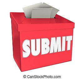 boîte, soumission, illustration, idées, ici, soumettre, appliquer, 3d