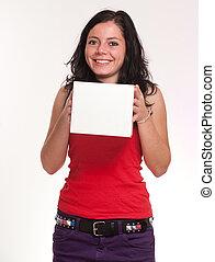 boîte, sourire, brunette, blanc, tenue
