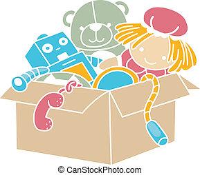 boîte, stencil, jouets