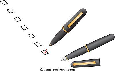 boîte, stylo, chèque