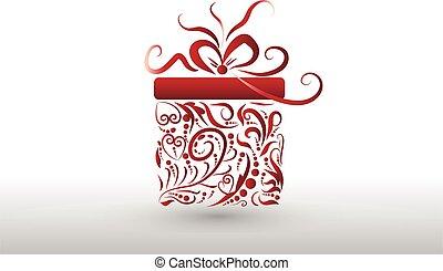 boîte, symbole, vacances, noël don