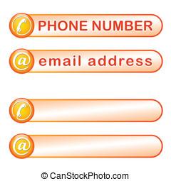 boîte, téléphone, adresse courrier
