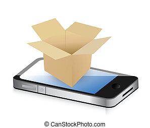boîte, téléphone, concept, transport, papier
