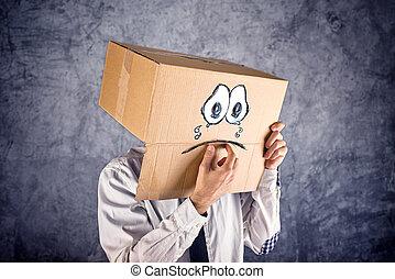 boîte, tête, sien, expression., triste, tristesse, concept, pleurer, homme affaires, depression., figure, carton