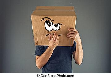 boîte, tête, sien, pensée, carton, homme