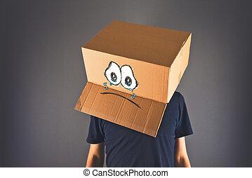 boîte, tête, sien, triste, carton, figure, expression, homme