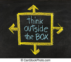 boîte, tableau noir, dehors, penser, locution