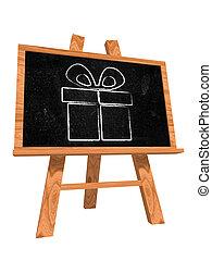 boîte, tableau noir, présent