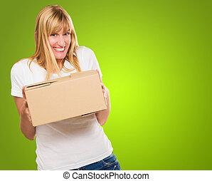 boîte, tenue femme, carton