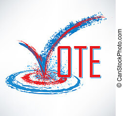 boîte, texte, chèque, vote, marque