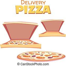 boîte, texte, illustration, chaud, vecteur, pizza