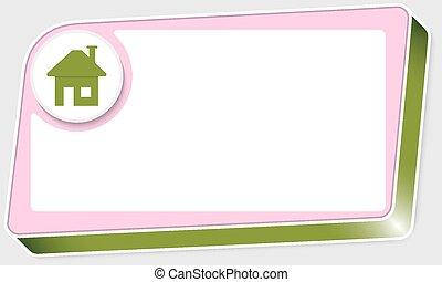 boîte, texte, résumé, icône, maison