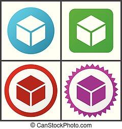 boîte, toile, bleu, plat, éditer, set., icons., symboles, rose, vecteur, vert, facile, signes, conception, rouges, icône