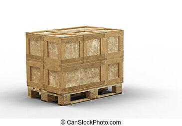 boîte, transport, chargé, bois, palette, différent, taille, totalement