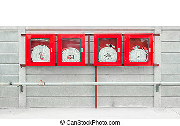 boîte, tuyau, urgence, brûler, intérieur, verre, trouvé, monté, mur