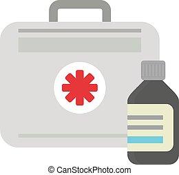 boîte, urgence, illustration médicale, kit, healthcare., vecteur, aide, premier