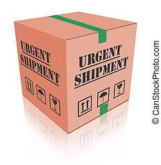 boîte, urgent, carton, expédition, paquet