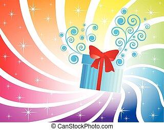 boîte, vacances, fond, cadeau